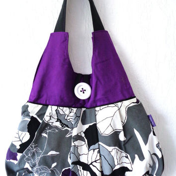 Fabric bag, hobo bag, zipper bag, handbag, floral bag, purple bag, lined bag, sling bag, IKEA fabric bag.