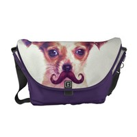 Cute Chihuahua With Purple Funny Mustache Courier Bag