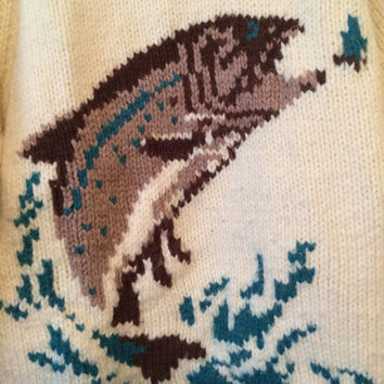 Vintage 60's COWICHAN Sweater with Fish design Cream Color Size Medium