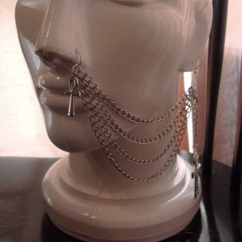 Egyptian Goddess 4 Strand Nose to Ear Chain