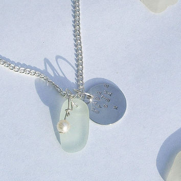Sea Glass Necklace. Sea Glass Jewelry. Hand Stamped. Made by the Sea.
