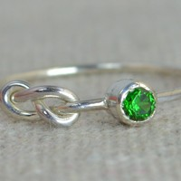 Sterling Silver Emerald Infinity Ring