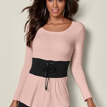 Corset Waist Ribbed Top in Peach | VENUS
