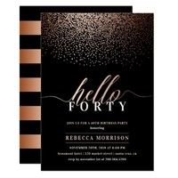 Sumptuous Rose Gold/Copper Any Age Birthday Party Card