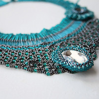 beadwoven collar, beaded collar, beaded necklace, seed beads necklace, seed beads jewelry, handmade necklace, beadwork, teal necklace, blue