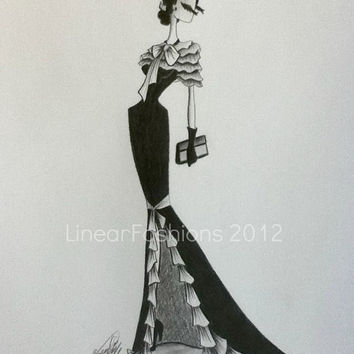 Fashion Art Illustration 1930s Ruffle Evening by LinearFashions