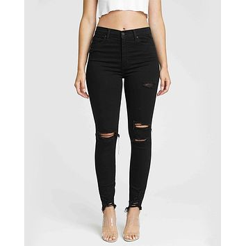 Bella Super High Rise Distressed Black Skinny Jeans