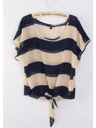 Women Euro Style Summer New Style Stripe Loose Scoop Sleeveless Navy Chiffon T-Shirt S/M/L@WH0017n $19.99 only in eFexcity.com.