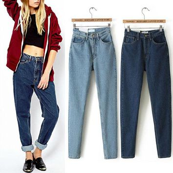 LMFET7 American Apparel AA Street Fashion Lady Retro High Waist Denim Jeans Harem Pants Trousers Legging 2016 New Listing 2 Colors