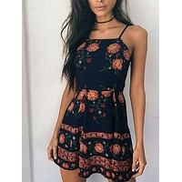 Casual Halter Bohemian Style Floral Print Dress