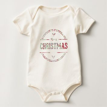 Merry Christmas Greeting Baby Bodysuit