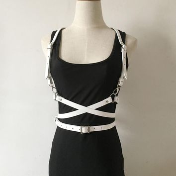 Sexy Dark Rock Street Faux Leather White harness Metal O Ring punk Harajuku Long Waist strap Belt Body harness for Women