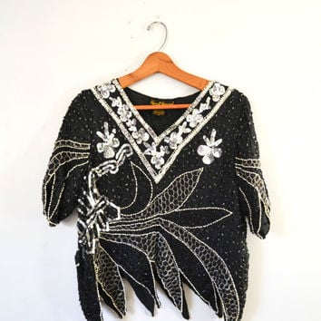 Vintage 80s Top Cocktail Blouse Beaded Sequin Top V Neck Sequin Shirt Trophy Blouse Size Medium Clubbing New Years Eve Party