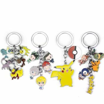 New Pokemon Action Figure Toys Mini Cute Cartoon Pikachu Bulbasaur Eevee Mega Charizard Keychain Keyring Pendant Collect Gift