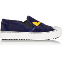 Fendi - Bag Bug leather-trimmed calf hair slip-on sneakers