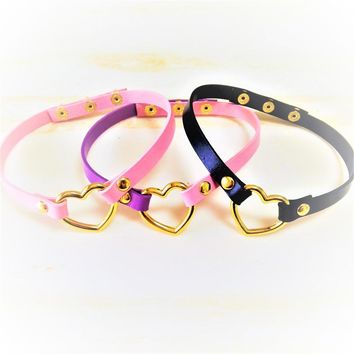 Fashion Sexy Harajuku Handmade Leather Choker Rock Collar Punk Goth Gold-color Sweet Heart Necklace torque free shipping