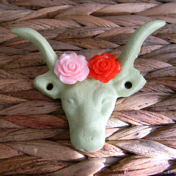 Cast Iron Lime Green Wall Hook,Western Rustic Decor, Pink Rose, Red Rose,Longhorn Steer Drawer Pull, Rustic Home Decor,Animal Hook,