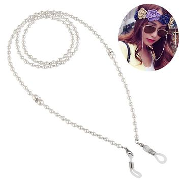 OULII Fashion Pearl Decored Sunglasses Eyeglasses Spectacles Chain Holder