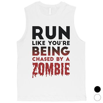 Chased By Zombie Mens Spooky Whimsical Cool Muscle Shirt Gag Gift