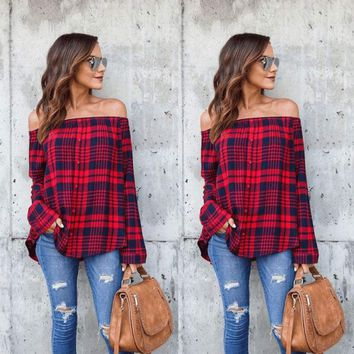 Women Off Shoulder Tops Long Sleeve Shirt Casual Blouse Loose T-shirt Plus S-2XL