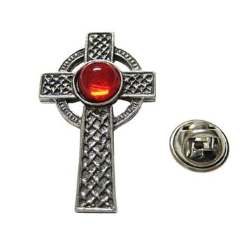 Textured Large Celtic Cross with Red Center Lapel Pin