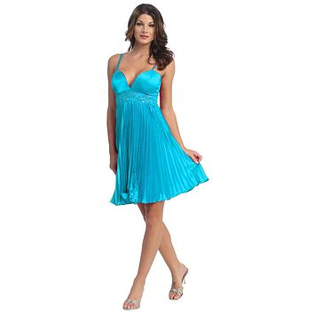 CLEARANCE - Sexy Short Turquoise Party Cocktail Dress Pleated Spaghetti Strap (Size XS, S, M, L)