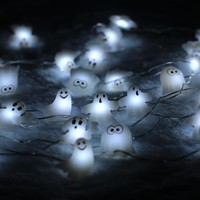 40LED 10Ft 3m Skull Ghost Led string Light Decoration Halloween Indoor&Outdoor Battery Operated Silver Wire String Light+Remote