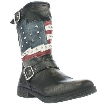 White Mountain Kennedy Studded American Cowboy Boots - Black