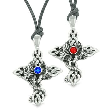 Fire Dragon Celtic Knots Protection Cross Amulets Love Couples Best Friends Set Red Blue Necklaces
