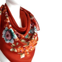 BUY ANY 3 GET 1 OF THEM FREE, large cotton scarf, large square scarf, bright brown scarf, summer scarf, light soft scarf, pattern scarf, flowers scarf shawl blanket scarf