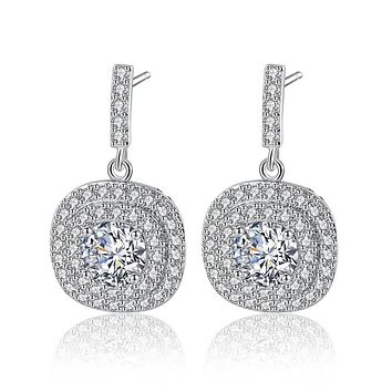 Elegant AAA Zircon New Ladies Wedding Round Earrings For Women