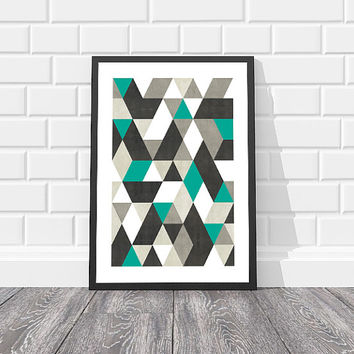 SAVE 50% 8x10 Geometric Print Geometric Art Printable geometric Poster Teal Modern Wall Art Modern Print Modern Wall Art Instant Download