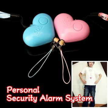 Hot sale Cute Heart Shaped Personal Travel Protection Outdoor Security Guard Alarm Bell Avoid Attack Random Color LCC77