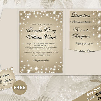 DIY Printable Wedding Pocket Fold Invitation Set A7 5 x 7 | Editable MS Word file | New Years Heaven White Sparkles Champagne Gold