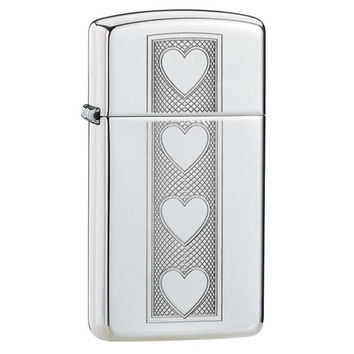 Zippo Slim Hearts High Polish Chrome Lighter