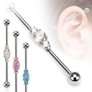 Triple Gem Cluster Industrial Barbell