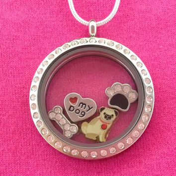 Pug Floating Charm Locket Necklace - Circle with Crystals