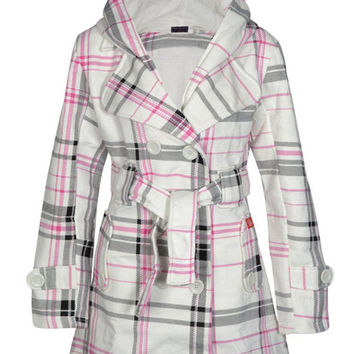 Plaid Long Sleeve Belted Hooded Coat