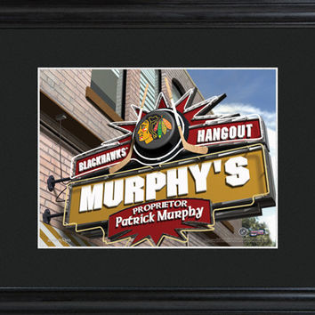 Personalized NHL Pub Sign w/Matted Frame - Blackhawks