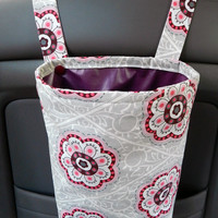 Water Resistant Car Trash Bag/Organizer Caddy for Head Rest Grey & Pink Flowers with Maroon Lining Washable Car Trash/Waste /Refuse Bag