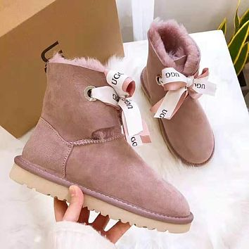 """UGG"" Winter Hot Sale Trending Women Stylish Bowknot Warm Wool Snow Boots Purple"