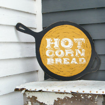 Wood Cornbread Sign Hot Corn Bread Skillet Kitchen Wall Decor