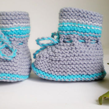 Knitted Baby Booties -Boys Booties - Baby Gift - Handmade Fashion Baby Booties -Gray Slippers - Knitted baby clothes -  Soft Baby Booties