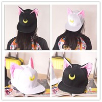 Harajuku Sailor Moon Luna & Artemis Cat Ear Hats Baseball Cap 2 colors hats
