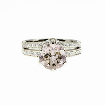 1.91ct Morganite engagement ring set, solitaire, peach morganite ring, wedding ring set, diamond wedding, curved, white gold, yellow gold