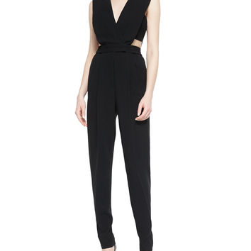 Crepe Cutout Jumpsuit, Black, Size: