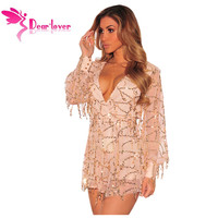 Dear-Lover Party Jumpsuit Women Autumn 2016 Champagne Flowing Sequins Long Sleeves Romper overalls Fashion club playsuit LC64183