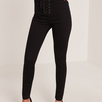 Missguided - Vice High Waisted Lace Up Skinny Jeans Black