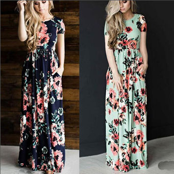Summer Women Floral Print Short Sleeve Empire Waist Boho Party Long Beach Maxi Dresses