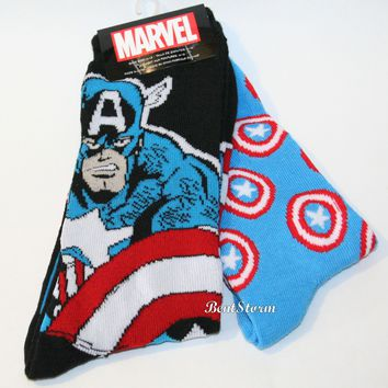Licensed cool Marvel Captain America Hero Mens Crew Socks Shield 2PK 2 pair Licensed NWT